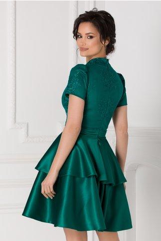 Rochie Alison verde cu dantela si tafta