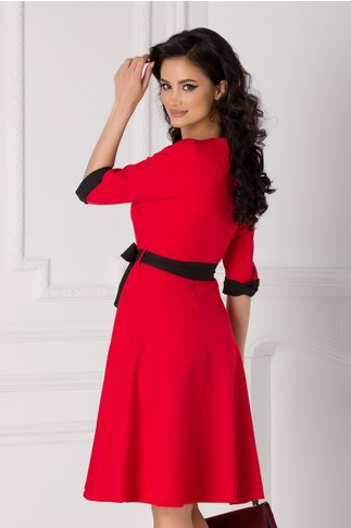 Rochie Cansi rosie cu rever si cordon negru