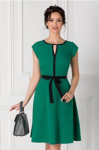 Rochie Isabel verde cu cordon in talie