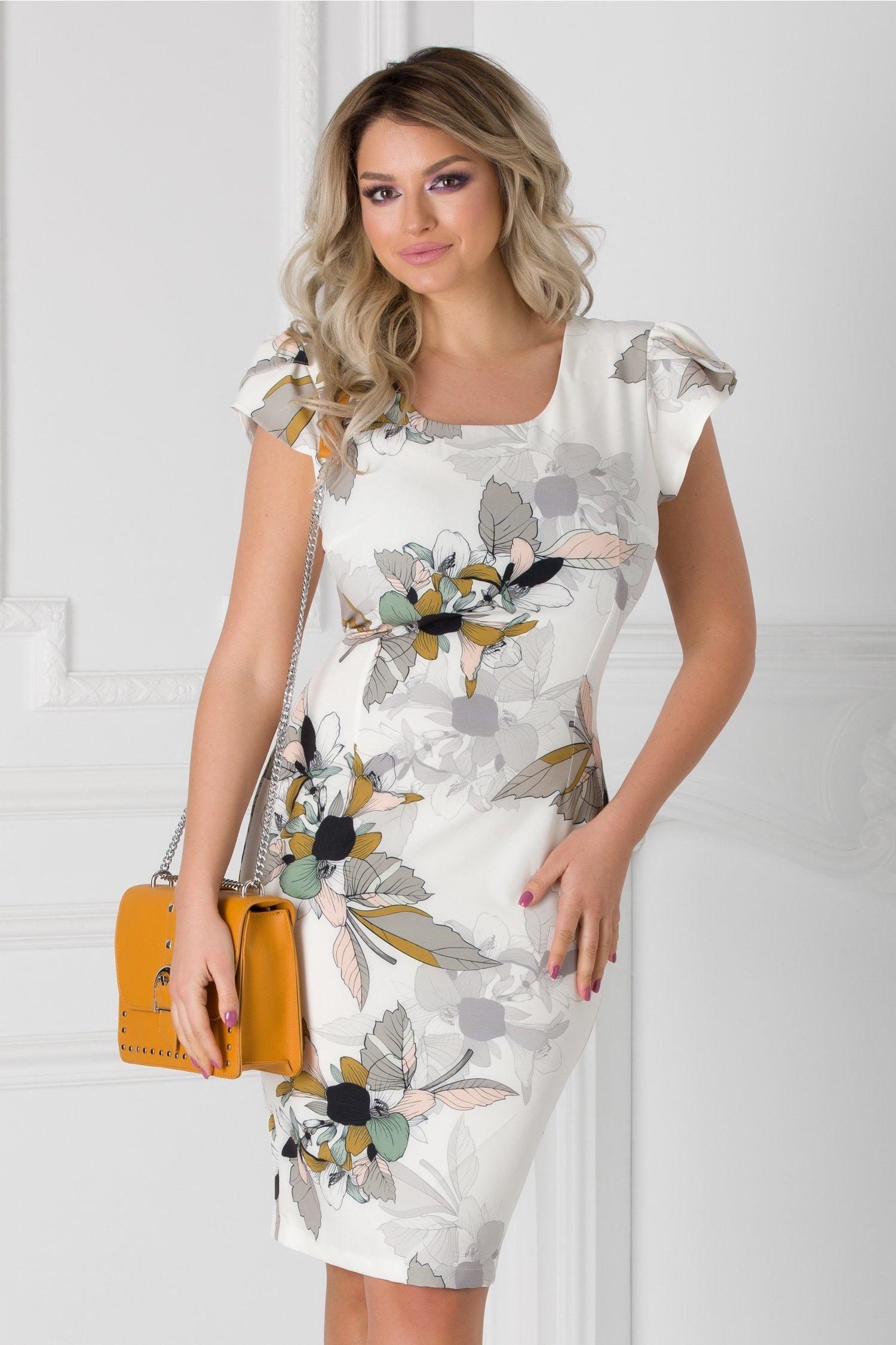 Rochie Katelyn ivoire cu imprimeu floral