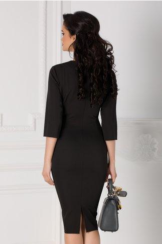 Rochie Malvina neagra cu rever alb pe o parte