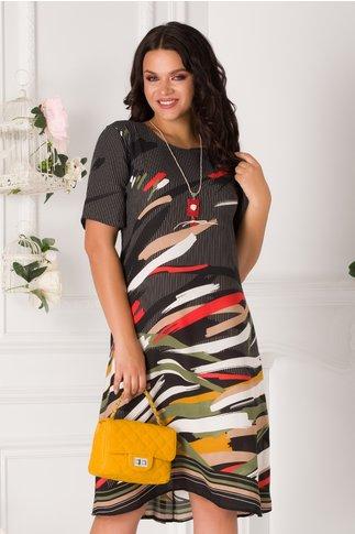 Rochie neagra cu dungi albe si imprimeu multicolor