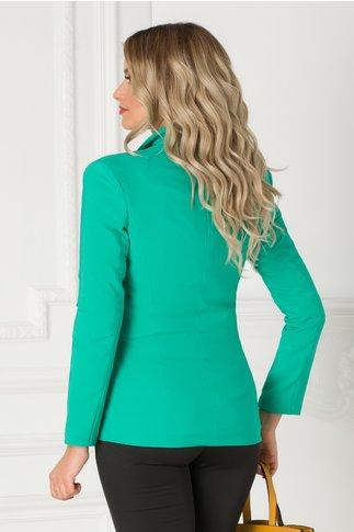 Sacou LaDonna verde mint cu rever si nasture perlat