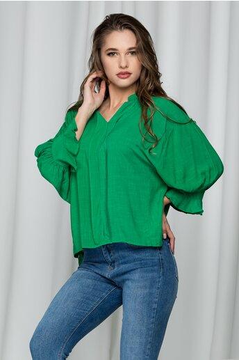 Bluza Adina verde cu guler tip tunica
