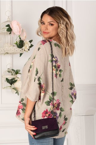 Bluza Damiana gri cu flori maxi