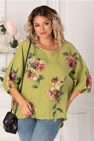 Bluza Damiana verde cu flori maxi