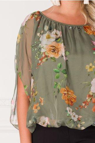 Bluza Ada kaki cu imprimeuri florale si maneci decupate