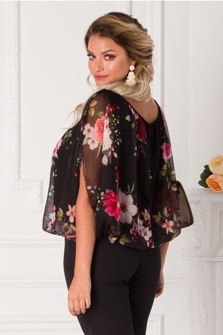 Bluza Ada neagra cu imprimeuri florale si maneci decupate