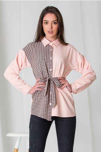 Bluza Adela roz cu imprimeu picior de cocos