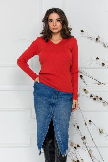 Bluza Adriana caramizie din tricot reiat