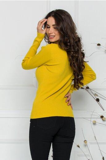 Bluza Adriana galbena din tricot reiat