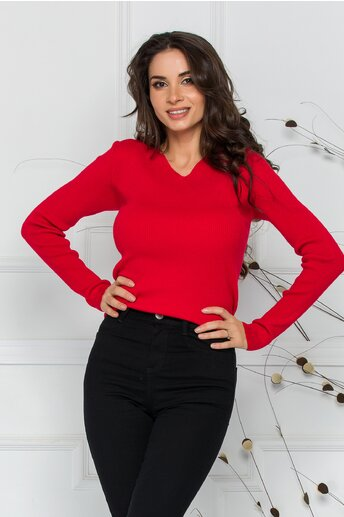 Bluza Adriana rosie din tricot reiat