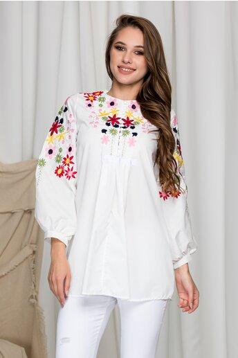 Bluza  Aida alba cu broderie florala