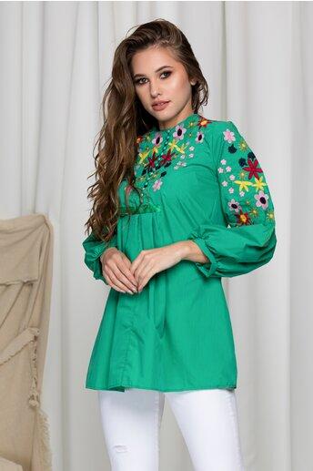 Bluza  Aida verde cu broderie florala