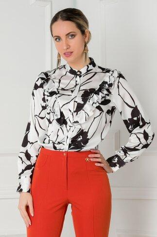 Bluza alba cu imprimeuri florale negre si volanase la bust