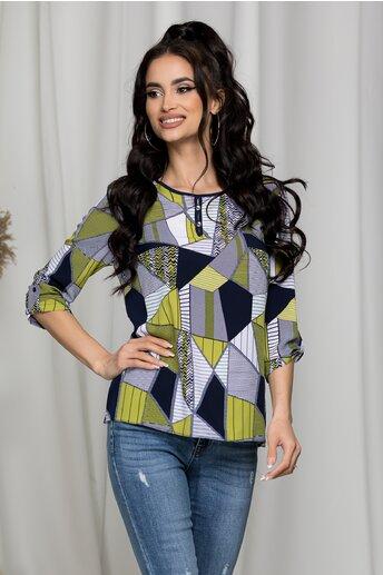 Bluza Alessia cu imprimeuri albe si verzi