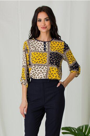 Bluza Alessia galben cu bleumarin si imprimeu divers