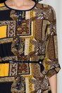 Bluza Alessia maro cu imprimeuri galbene si bleumarin
