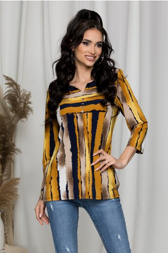 Bluza Alexandra bej cu galben cu umeri intariti si imprimeu in dungi