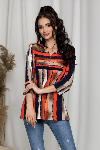 Bluza Alexandra bej cu rosu cu umeri intariti si imprimeu in dungi