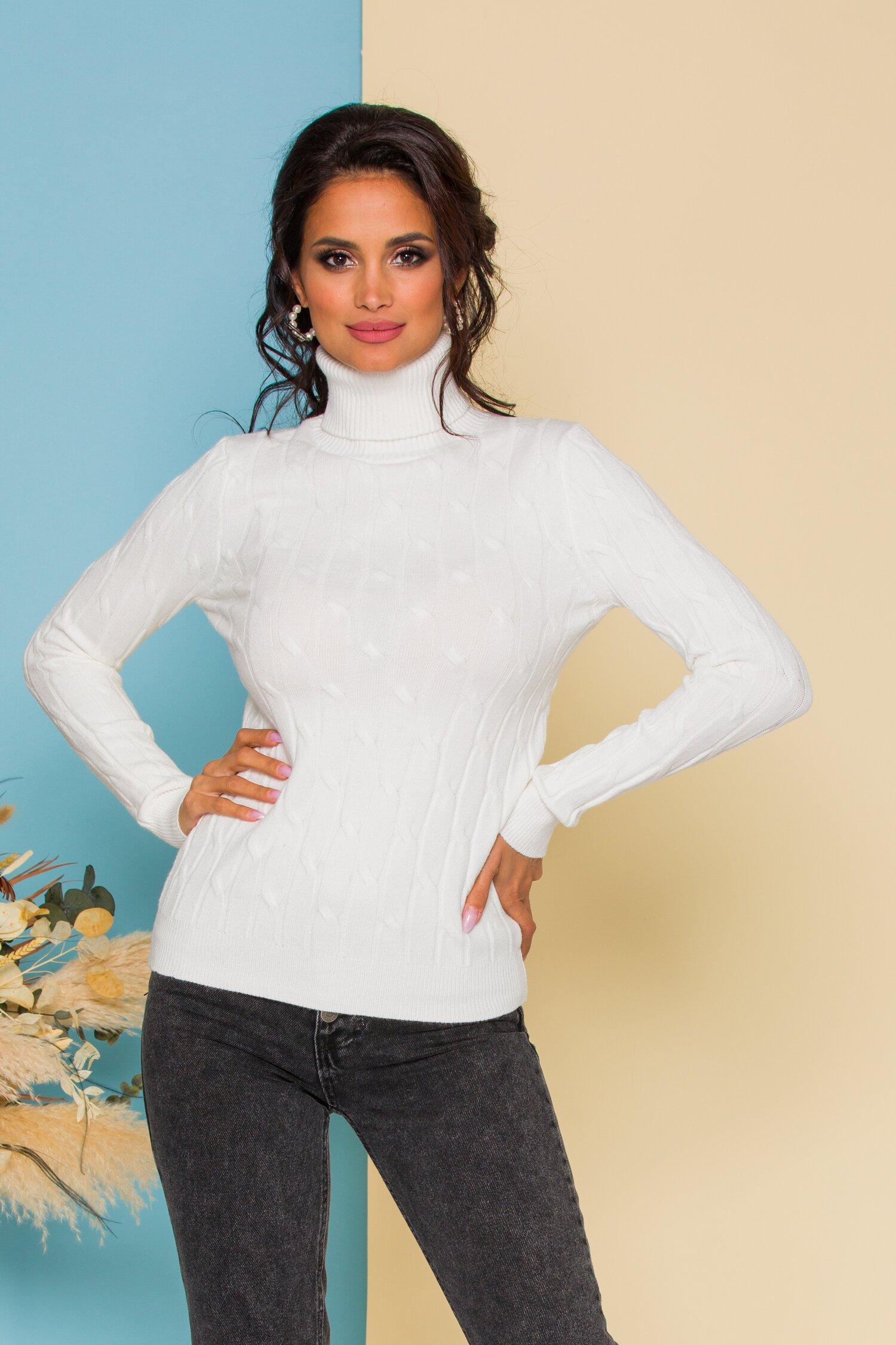 Bluza Alia alba din tricot cu model in relief