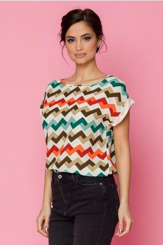 Bluza Alia cu imprimeu in zig-zag multicolor