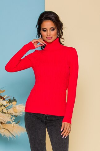 Bluza Alia rosie din tricot cu model in relief