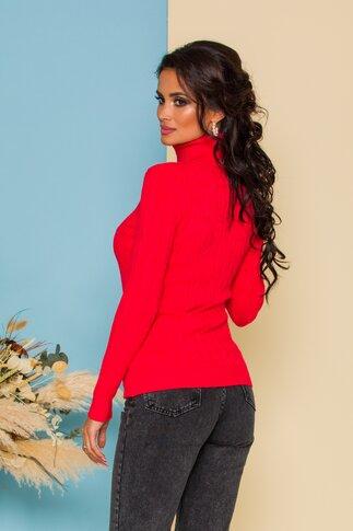 Bluza Alia rosie din tricot cu model in relief