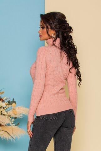 Bluza Alia somon din tricot cu model in relief