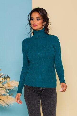 Bluza Alia turcoaz din tricot cu model in relief