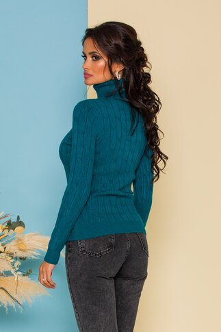 Bluza Alia turcoaz din tricot cu model in relief