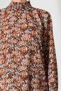 Bluza Alma maro cu imprimeuri florale bej si guler inalt