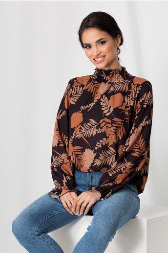 Bluza Alma neagra cu imprimeuri florale si guler inalt