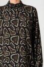 Bluza Alma neagra cu imprimeuri kaki si guler inalt