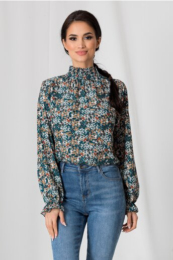 Bluza Alma turcoaz cu imprimeuri florale maro si guler inalt