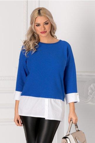 Bluza Alpe albastra cu mansete albe