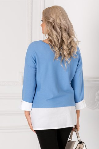 Bluza Alpe bleu cu mansete albe