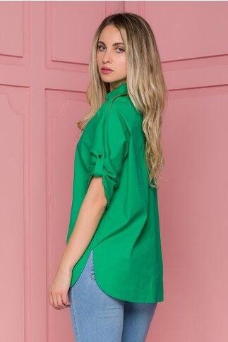 Bluza Amaia verde cu fermoar la bust