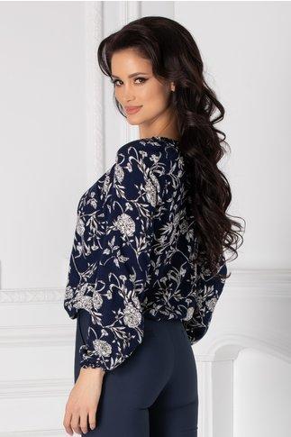 Bluza Amber bleumarin cu imprimeu floral