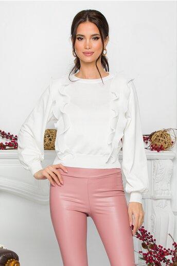 Bluza Ami alba cu volanase din voal plisat