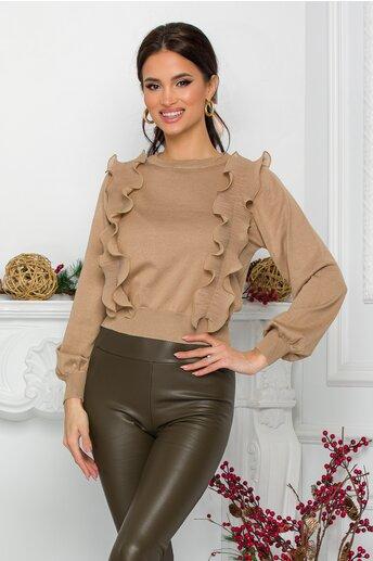 Bluza Ami crem cu volanase din voal plisat