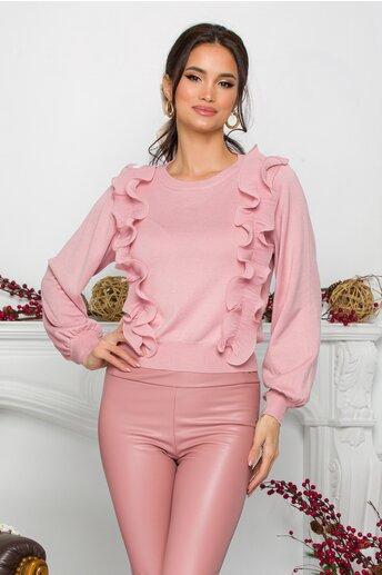 Bluza Ami roz cu volanase din voal plisat