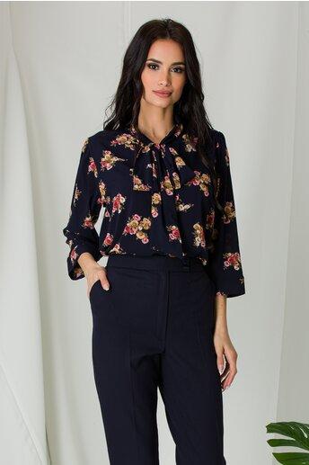 Bluza Amna vaporoasa bleumarin cu imprimeuri florale roz