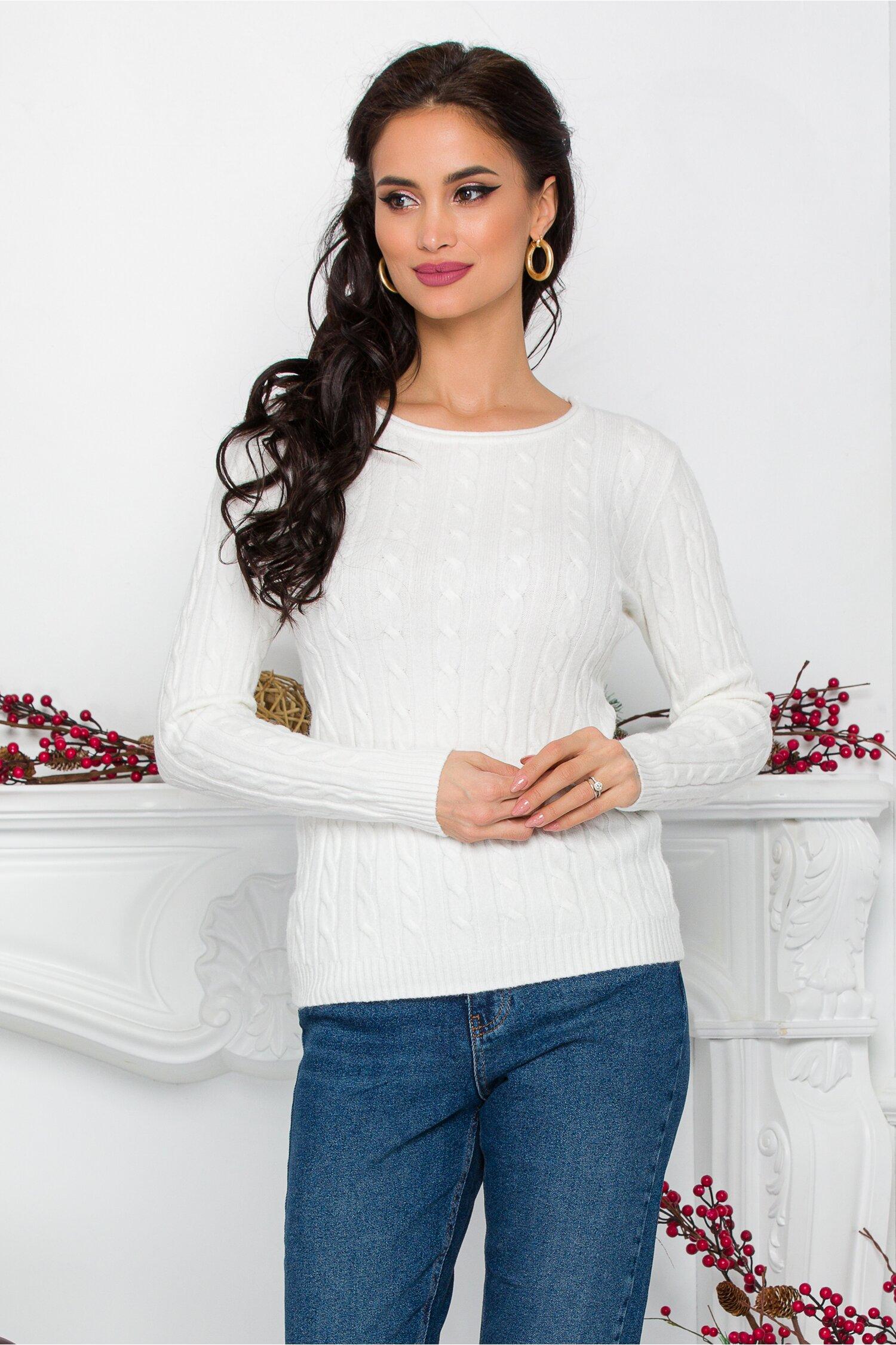 Bluza Amy alba din tricot cu design impletit