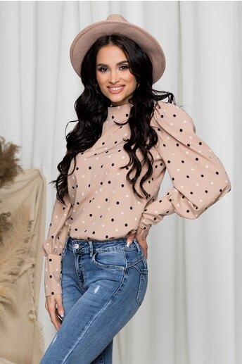 Bluza Amy bej cu buline si umeri bufanti