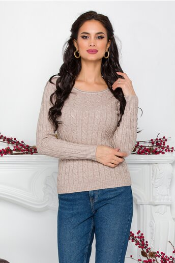 Bluza Amy bej din tricot cu design impletit