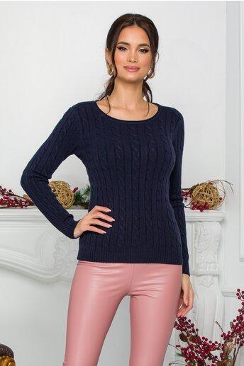 Bluza Amy bleumarin din tricot cu design impletit