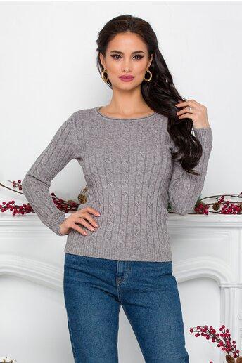 Bluza Amy gri din tricot cu design impletit