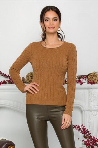Bluza Amy maro din tricot cu design impletit