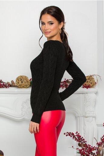Bluza Amy neagra din tricot cu design impletit